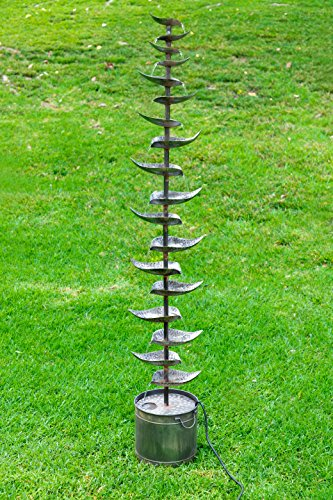 Alpine Corporation Metal Siler Tiered Floor Fountain - Indoor/Outdoor Water Fountain for Garden, Entryway, Patio, Yard