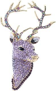 SEPBRIDALS Purple Rhinestone Crystal Deer Head Brooch Pin,Christmas Pins Jewelry FA3181