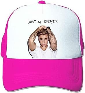 UMarsDeal Custom Pop Star Justin Bieber Trucker Hat Orange Sun Hat Pink
