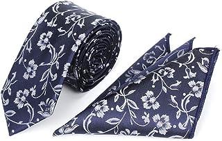 Mens Skinny Floral Ties Handkerchief Set Wedding Suit Necktie with Pocket Suqare