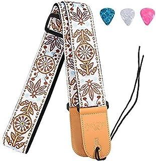 Rufun Sangle de Guitare Rétro Adjustable Broderie Vintage Accessoire Longeur Réglable pour Basse Guitare Électrique Acoust...