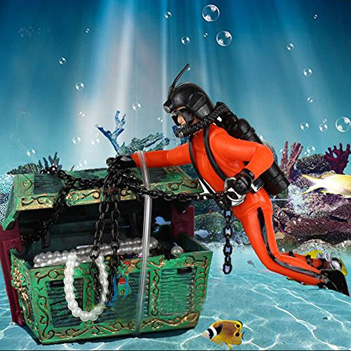 Bestgle Creative Aquarium Ornament Treasure Hunter Diver Action Figure Decoration for Fish Tank