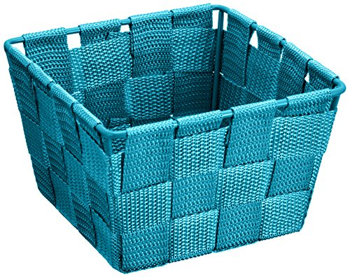 WENKO Aufbewahrungskorb Adria Mini Petrol - Badkorb, quadratisch, Kunststoff-Geflecht, Polypropylen, 14 x 9 x 14 cm, Petrol