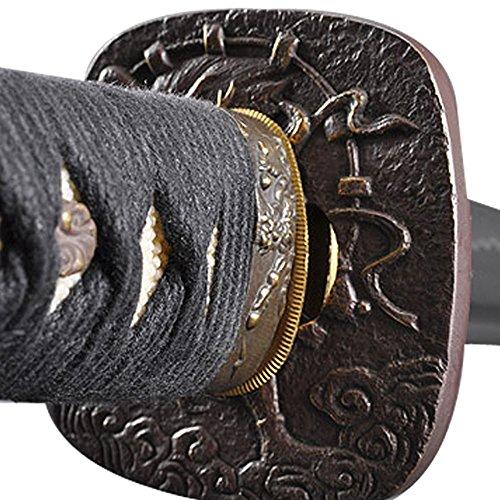 Handmade Sword - Japanese Samurai Katana Swords, Practical, Hand Forged, 1045 Carbon Steel, Heat Tempered, Full Tang, Sharp, Bendable Blade, Black Wooden Scabbard, Sword Certificate