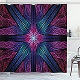 Fractal Vorhang für die Dusche von ambesonne, Psychedelic Colorful Sacred symmetrisch gebeizt Glas Figur leuchtende Artsy Design, Stoff Badezimmer Decor Set mit Haken, 177,8cm, Pflaume Indigo