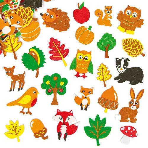 Baker Ross Moosgummi Aufkleber Waldtiere für Kinder zum Verzieren von Karten und Bastelprojekten (100 Stück)