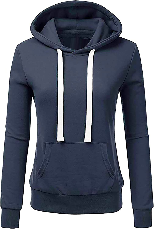 Tynelles Women's Casual Long Sleeve Hoodie Comfy Zip-Up Pullover Sweatshirts Casual Active Solid Pockets Sweatshirt
