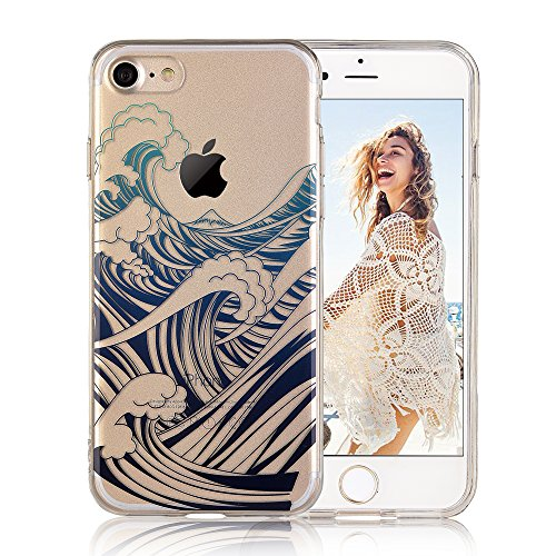 COSANO iPhone 7 case,for iPhone 8 case Blue sea Wave Nature Beach Summer[Hard PC Back + Soft TPU Bumper] Crystal Clear Design[Ultra Thin] for iPhone 7/8 (4.7')(Wavez 7)