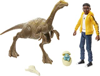 Jurassic World Human & Dino Pack Darius & Gallimimus Action Figures, 2 Accessories, Camp Cretaceous Movable Joints, Authen...