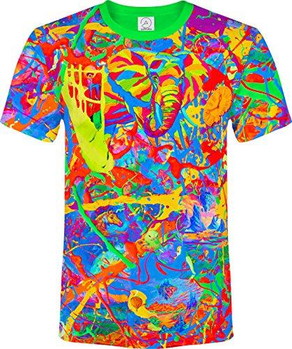 Elephant Pegion Splash Paint Island Tree Horse TIme Watch Fantasy Blacklight UV Neon Fluorescent T-Shirt, Size X Large
