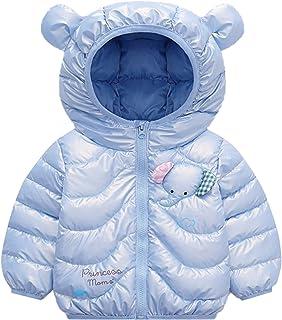 Ommda Mały chłopiec dziewczynki słoń nadruk puszysty płaszcz z kapturem lekka odzież wierzchnia pikowana kurtka z uchem