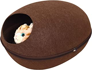 PLATA キャットハウス 2WAY フェルトポッド オールシーズン対応 猫ベッド お昼寝 ベッド ドーム型 Cat House 中を覗ける 可愛い小窓付 【 Sサイズ ブラウン 】