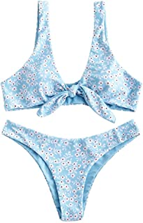 ZAFUL - Conjunto de bikini para mujer, diseño de flores, cintura baja, dos piezas