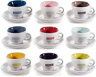 Tasses à café expresso en Céramique 70 ml. Lot de 9 tasses en céramique bicolores avec inscription « espresso» et leurs ...
