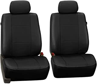 FH Group FH-PU007102 Deluxe Leatherette Front Set Seat Covers, Airbag Compatible,Black Color- Fit Most Car, Truck, SUV, or Van