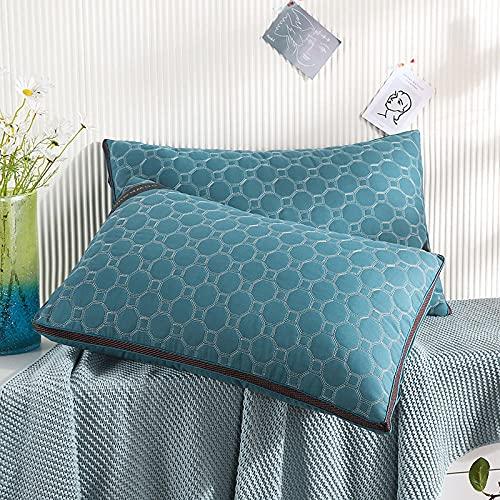 Almohada,Diseño ergonómico para un Mejor Soporte para Dormir en la Cabeza, el Cuello y los Hombros Almohada -Azul_45 * 74cm Dos