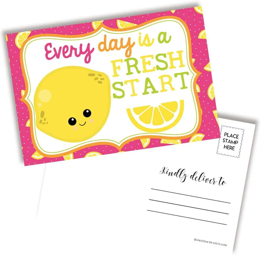 Every Day Is A Fresh Start Themed Lemon 40% OFF Cheap Sale Postcards To Blank Boston Mall Cute