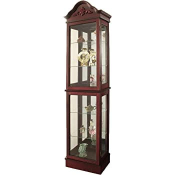 China Cabinet 25 W Incandescent Bulb Glass Doors London Lighted Corner Curio China Cabinet with an Oak Veneer Finish. Oak