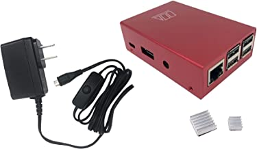 Micro Connectors Aluminum Raspberry Pi 3 Case for Model B B+ with UL Approved On/Off Switch 5V/2.5A Power Supply Adapter - Red (RAS-03RDPWR-PI)