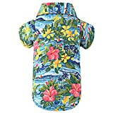 EXPAWLORER Dog Print Polo Shirt - Summer Hawaii Style with Flowers for Pet Puppy