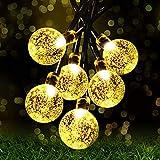 Luces de Cadena de Hadas Solares, 8 Modos Luces Impermeables Interiores/Exteriores de 22.3FT 30 LED, Decorativas Accionadas para Jardín, Patio, Hogar, Bodas, Fiestas, Arboles, Navidad (Blanco Cálido)