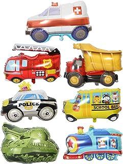ED-Lumos Globos Gigante de Helio 7 Piezas Decoración para Fiesta de los niños Forma Coche Tren Vehículo de Bomberos Vehículo policial Tanque Autobús Excavadora Ambulancia