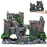 Mon3trYYDS Acuario Simulación Castillo Decoración Decoración de Castillo de Acuario Decoración Castillo Refugio Resina Paisajismo Castillo para Pequeños Animales Acuáticos y Decoraciones