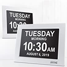 American Lifetime [Newest Version] Day Clock - Extra Large Impaired Vision Digital Clock with Battery Backup & 5 Alarm Options (White - 2 Pack)