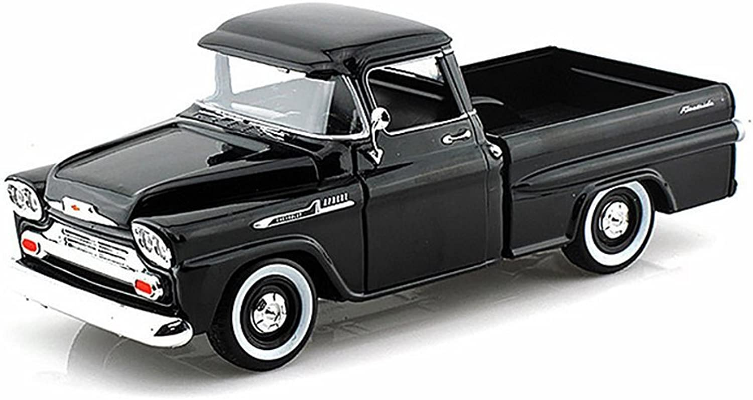 1958 Chevrolet Apache Fleetside Pickup Truck Black 1 24 Diecast Model by Motormax
