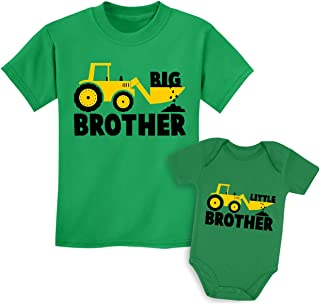 Big Brother Little Brother Shirts Gift for Tractor Loving Boys Siblings Set