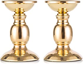 Gold Metal Pillar Candle Holders, Flameless Candlestick Holders Stand Centerpieces Decoration Ideal for Weddings, Special ...