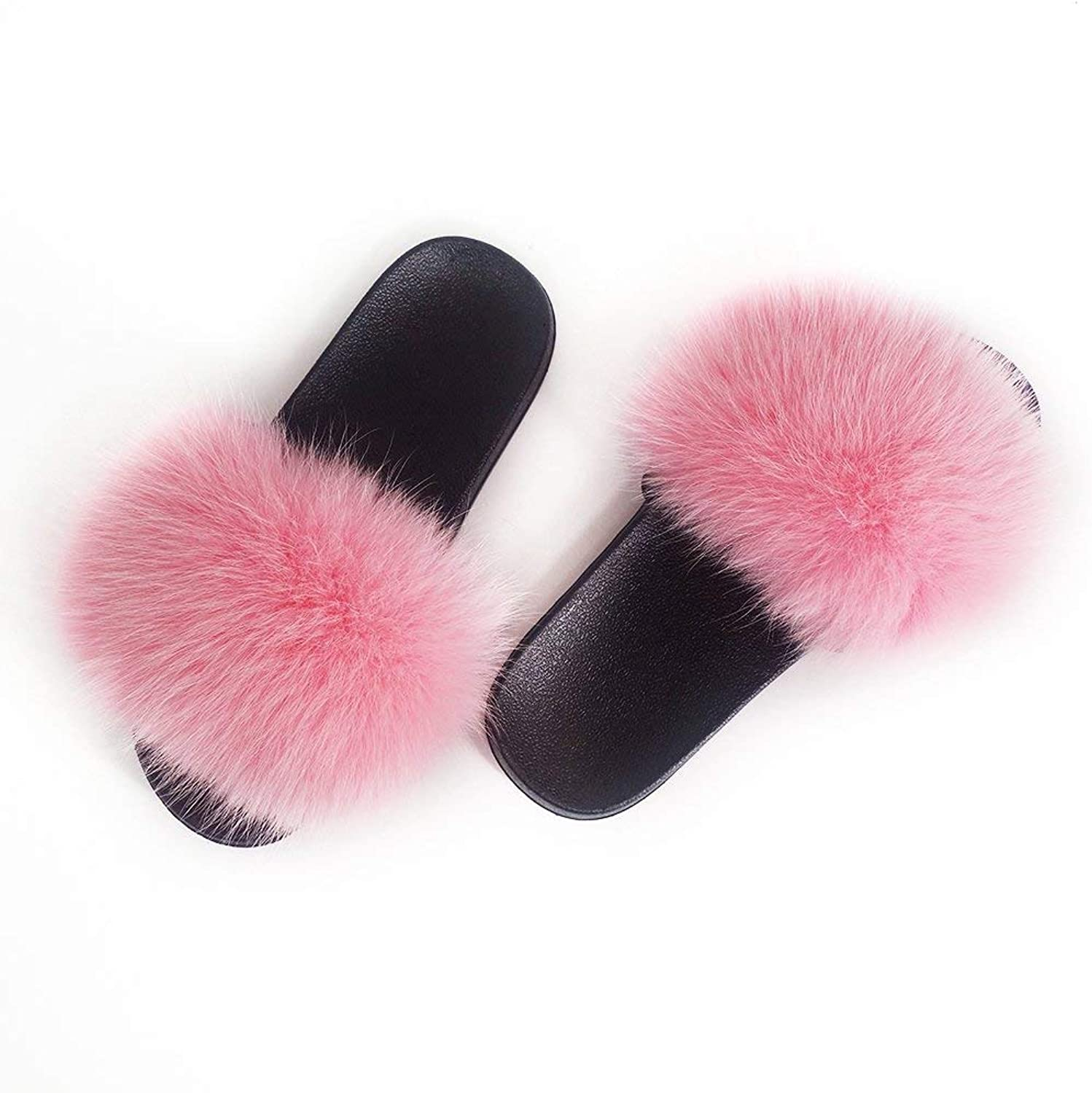 Manka Vesa Women Winter Real Fox Fur Feather Vegan Leather Open Toe Single Strap Slip On Sandals