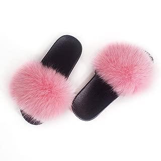 Women Winter Real Fox Fur Feather Vegan Leather Open Toe Single Strap Slip On Sandals