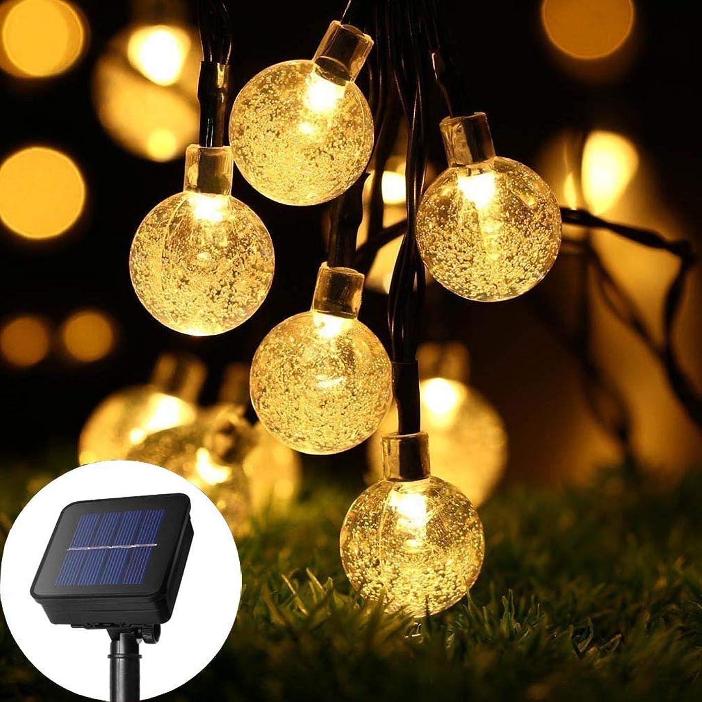 手がかりモーターコントローラソーラーストリングライト、6M 30 LEDグローブフェアリーライト屋外防水クリスタルボール照明、ガーデンパティオのための雰囲気照明、結婚式、パーティー、家の風景、木の装飾 (暖かい光 #1)