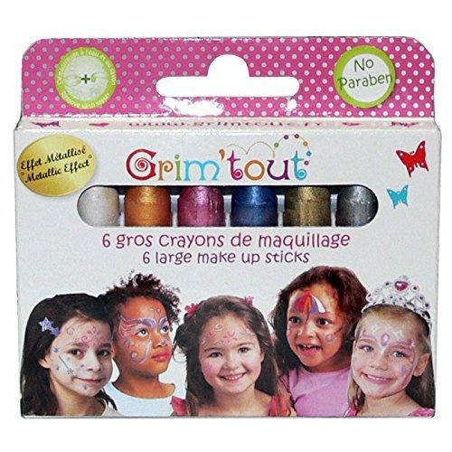 Grim'tout - OZ International 6 Crayons de maquillage effet métallisé - Taille Unique