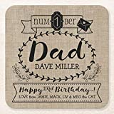 Wooden Coasters for Drinks Absorbent Drink Coaster Make Your Own Number 1 Dad Birthday Cute Monogram Home Bar Decorations Housewarming Gifts For Woment Hostess Set of 6