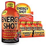 (12 Pack) Grade A Quality™ Energy Shots, Fruit Punch, Energy Lasts Up to 7+ Hours, Tastes Great, Vitamins Supplements, Energy Drink, 12 Pack