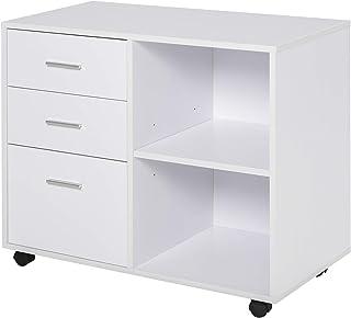 Support d'imprimante organiseur bureau caisson 3 tiroirs + 2 niches + grand plateau panneaux particules blanc