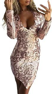 Womens Bodycon Dresses,Women Elegant Sequin Long Sleeve Deep V Ethnic Print Cocktail Weeding Party Dress Zulmuliu