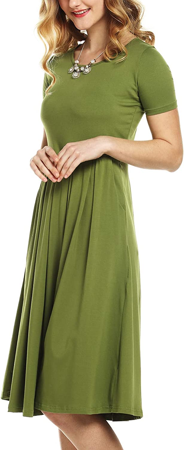BeLuring Womens Short Sleeve Round Neck Flared Midi Dress with Pockets