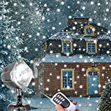 Snowfall LED Lights, AOLOX Christmas Snowflake Rotating Projectors Lights Remote Control Waterproof Outdoor Landscape Decorative Lighting for Patio,Garden,Halloween,Christmas,Holiday,Wedding,Party