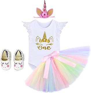 IWEMEK Bebé Niñas Primer Cumpleaños Princesa Unicornio Trajes de Fiesta 4pcs Conjunto de Mameluco + Falda de Tutú Colorida + Unicornio Diadema + Zapatos Carnaval Disfraz