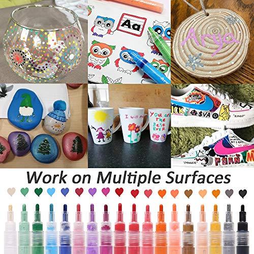 Rotuladores Acrílicos Marcadores de Pintura Acrílica a Base de Agua, 18 Colores,Impermeables, Rotuladores de Arte,Rotuladores de Dibujo,Rotuladores para Colorear para Niños y Adultos (3 mm)