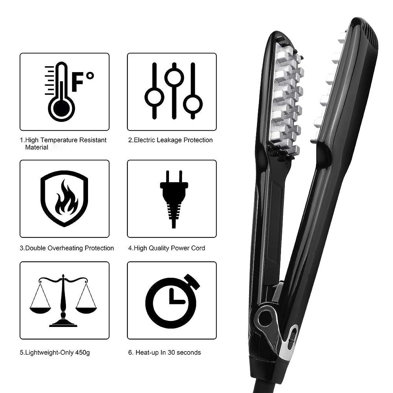 どちらかアノイ落ち着く増毛ヘアアイロンと LCD ディスプレイプロフェッショナルヘアスタイリングツールポータブル個人的な使用のために適したロングショートヘアブラック