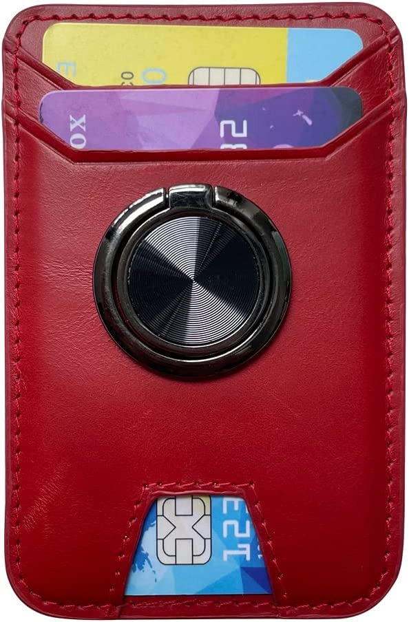 Genuine Leather Phone Card Holder RFID Wallet Adhesive Stick-on Cell Case for Back of Phone, Ring Holder Kickstand, Grip for Magnetic Car Mount - Red