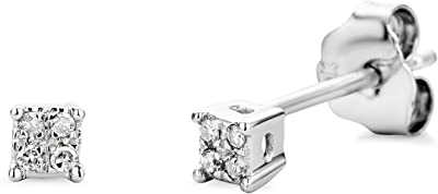 Miore - Pendientes de oro blanco de 9 quilates con diamante (.03)