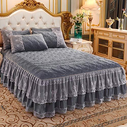 Bettrock Crystal Velvet Sheets Spitze Verdicktes Bett Rock Schlafzimmer Bettwäsche...