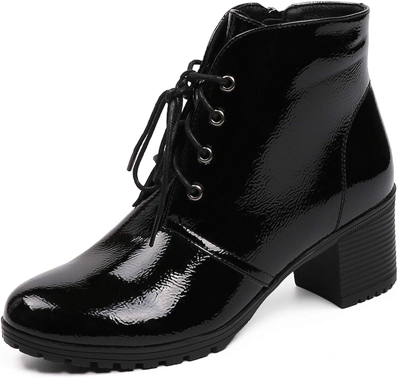 Ankle Boots Short Plush Inside Patent Leather Black Platform Heels shoes Square Thick Heel Women Boots
