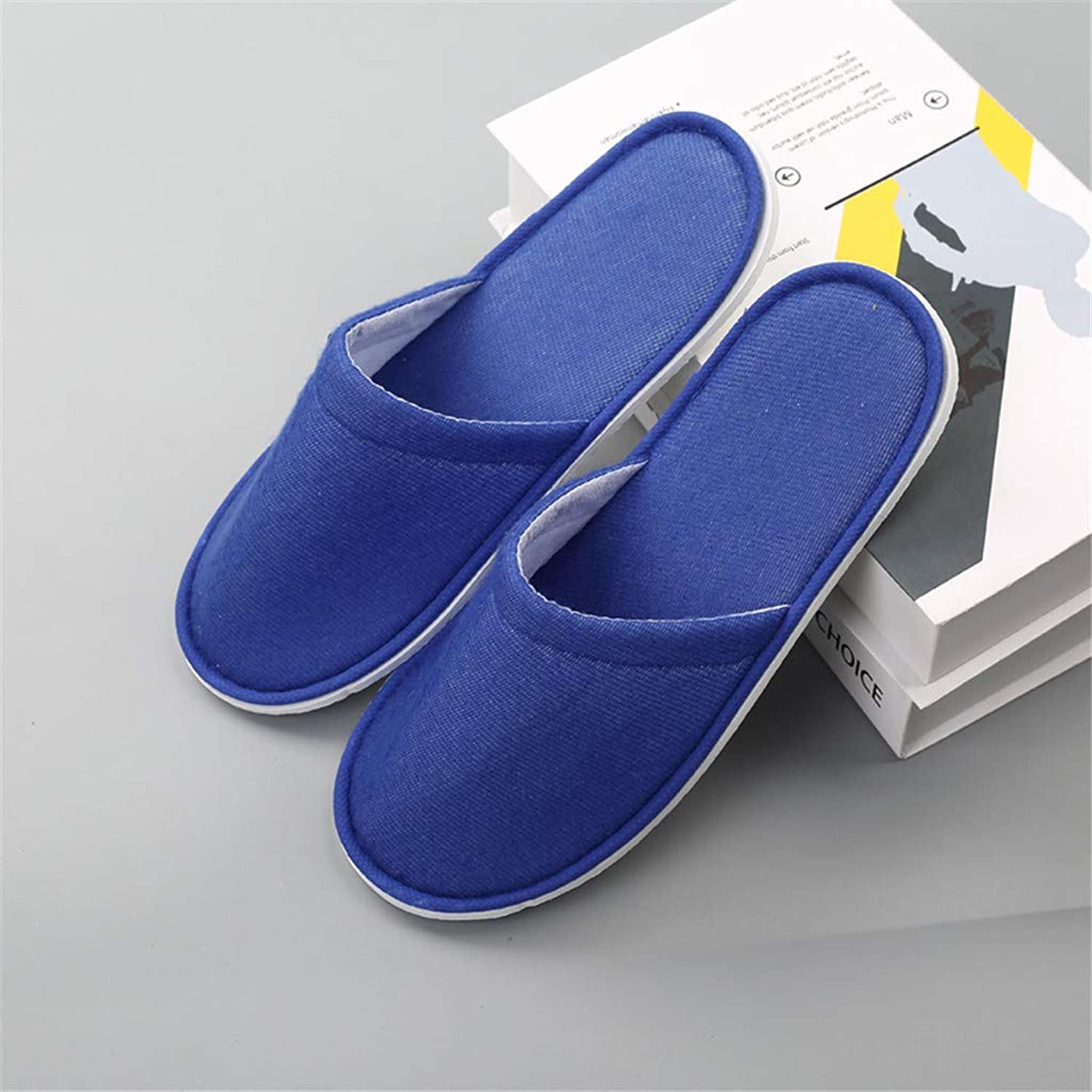 10 Pairs,Spa Slippers 6Mm EVA Sole Clubhouse Beauty Salon Slippers Hospitality Disposable Slippers,bluee
