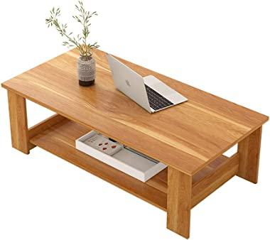 WY&XIAN Coffee Table, Red Leaf Maple Color Simple Modern Living Room Furniture Storage Simple Coffee Table Double Wooden